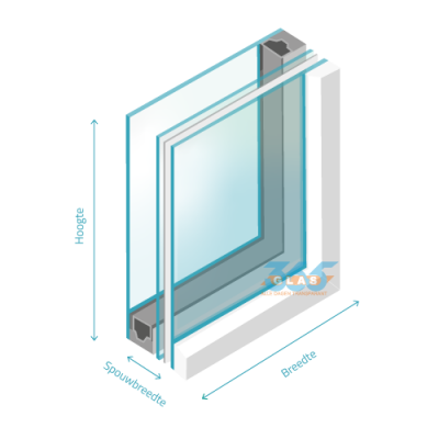 Hr++ dubbel glas gelaagd 4/spouw/33.1